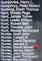 Memorial– Flight Sergeant Dwain Nowell Hunter is also commemorated on the Bomber Command Memorial Wall in Nanton, AB … photo courtesy of Marg Liessens