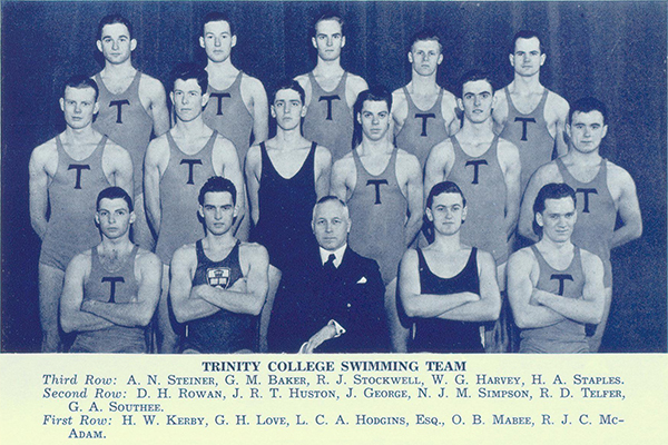 Photo– Group photograph showing Kerby with fellow members of the swimming team. Kerby is shown in front row, photo left. From Torontonensis yearbook 1938.