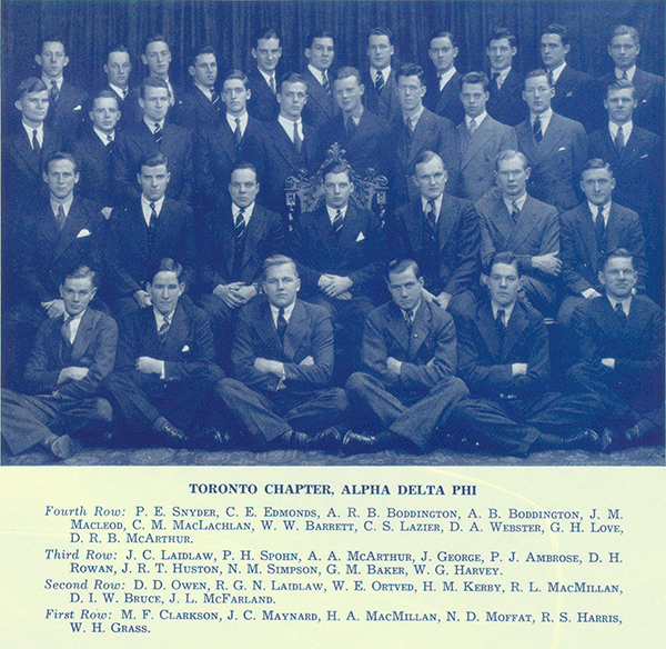 Photo– Group photograph showing Kerby with fellow members of Alpha Delta Phi fraternity. Kerby is shown in second row, fourth from photo left. From Torontonensis yearbook 1938.