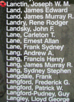 Memorial– Warrant Officer Class II Joseph Wilfred Maurice Edmond Lanctin is also commemorated on the Bomber Command Memorial Wall in Nanton, AB … photo courtesy of Marg Liessens