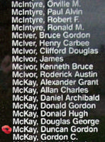 Memorial– Flight Sergeant Duncan Gordon McKay is also commemorated on the Bomber Command Memorial Wall in Nanton, AB … photo courtesy of Marg Liessens