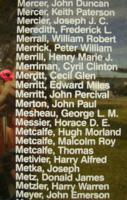 Memorial– Pilot Officer Cecil Glen Merritt is also commemorated on the Bomber Command Memorial Wall in Nanton, AB … photo courtesy of Marg Liessens