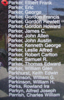 Memorial– Pilot Officer Elbert Frank Parker is commemorated on the Bomber Command Memorial Wall in Nanton, AB … photo courtesy of Marg Liessens