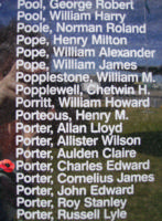 Memorial– Flying Officer Charles Edward Porter is commemorated on the Bomber Command Memorial Wall in Nanton, AB … photo courtesy of Marg Liessens
