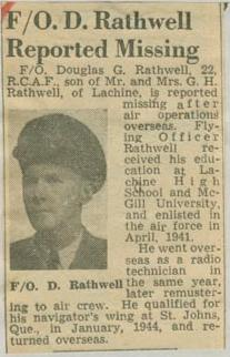 Newspaper Clipping– Flying Officer Douglas Gordon Rathwell obit Montreal Star May 9 1945 courtesy McGill University archives