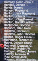 Memorial– Flying Officer Douglas Gordon Rathwell is commemorated on the Bomber Command Memorial Wall in Nanton, AB … photo courtesy of Marg Liessens