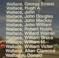 Memorial– Warrant Officer Class II William Victor Wallace is also commemorated on the Bomber Command Memorial Wall in Nanton, AB … photo courtesy of Marg Liessens