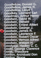 Memorial– Flight Sergeant James Robertson Goodwin is also commemorated on the Bomber Command Memorial Wall in Nanton, AB … photo courtesy of Marg Liessens