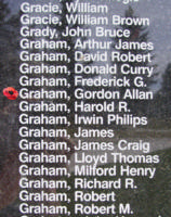 Memorial– Pilot Officer Gordon Allan Graham is also commemorated on the Bomber Command Memorial Wall in Nanton, AB … photo courtesy of Marg Liessens