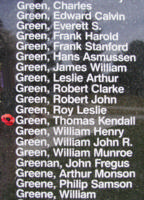 Memorial– Flight Sergeant Thomas Kendall Green is also commemorated on the Bomber Command Memorial Wall in Nanton, AB … photo courtesy of Marg Liessens