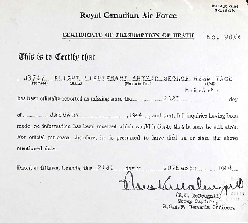 Notification of Death– Submitted for the project, Operation Picture Me