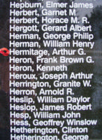 Memorial– Flight Lieutenant Arthur George Hermitage is also commemorated on the Bomber Command Memorial Wall in Nanton, AB … photo courtesy of Marg Liessens
