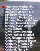 Memorial– Warrant Officer Class II Herbert Helmer Kinghorn is also commemorated on the Bomber Command Memorial Wall in Nanton, AB … photo courtesy of Marg Liessens