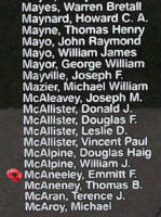 Memorial– Warrant Officer Class II Emmitt Francis McAneeley is also commemorated on the Bomber Command Memorial Wall in Nanton, AB … photo courtesy of Marg Liessens