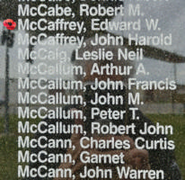 Memorial– Sergeant Edward William Harold McCaffrey is also commemorated on the Bomber Command Memorial Wall in Nanton, AB … photo courtesy of Marg Liessens