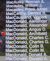 Memorial– Flight Sergeant Archibald Stewart MacDonald is also commemorated on the Bomber Command Memorial Wall in Nanton, AB … photo courtesy of Marg Liessens
