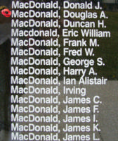 Memorial– Flight Lieutenant Douglas Allister MacDonald is also commemorated on the Bomber Command Memorial Wall in Nanton, AB … photo courtesy of Marg Liessens