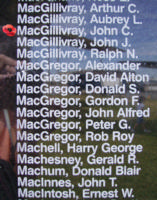 Memorial– Pilot Officer John Campbell MacGillivray is also commemorated on the Bomber Command Memorial Wall in Nanton, AB … photo courtesy of Marg Liessens