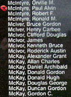 Memorial– Pilot Officer Paul Alvin McIntyre is also commemorated on the Bomber Command Memorial Wall in Nanton, AB … photo courtesy of Marg Liessens