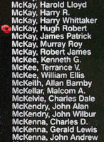 Memorial– Warrant Officer Class II Hugh Robert McKay is also commemorated on the Bomber Command Memorial Wall in Nanton, AB … photo courtesy of Marg Liessens