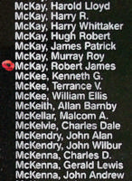 Memorial– Pilot Officer Robert James McKay is also commemorated on the Bomber Command Memorial Wall in Nanton, AB … photo courtesy of Marg Liessens