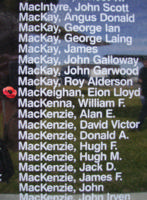 Memorial– Flying Officer Ian Lloyd MacKeigan as commemorated on the Bomber Command Memorial Wall in Nanton, AB … photo courtesy of Marg Liessens