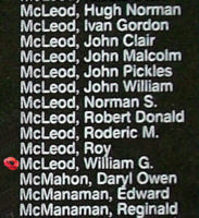 Memorial– Flying Officer William Gordon McLeod is also commemorated on the Bomber Command Memorial Wall in Nanton, AB … photo courtesy of Marg Liessens