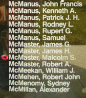 Memorial– Pilot Officer Malcolm Stalker McMaster is also commemorated on the Bomber Command Memorial Wall in Nanton, AB … photo courtesy of Marg Liessens