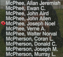 Memorial– Flight Lieutenant Joseph Noel McPhee is also commemorated on the Bomber Command Memorial Wall in Nanton, AB … photo courtesy of Marg Liessens