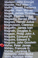 Memorial– Flight Sergeant Peter James Maher is also commemorated on the Bomber Command Memorial Wall in Nanton, AB … photo courtesy of Marg Liessens