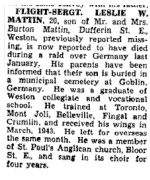 Newspaper Clipping– The Toronto Star January 6, 1945, page 6
