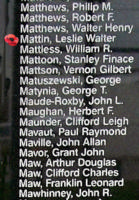 Memorial– Flight Sergeant Leslie Walter Mattin is also commemorated on the Bomber Command Memorial Wall in Nanton, AB … photo courtesy of Marg Liessens