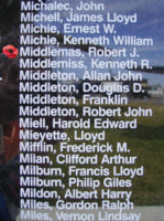 Memorial– Warrant Officer Class II Robert James Middlemas is also commemorated on the Bomber Command Memorial Wall in Nanton, AB … photo courtesy of Marg Liessens