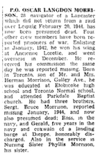 Newspaper Clipping– The Toronto Star April 21, 1945, page 8