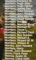 Memorial– Pilot Officer Oscar Langdon Morrison is also commemorated on the Bomber Command Memorial Wall in Nanton, AB … photo courtesy of Marg Liessens