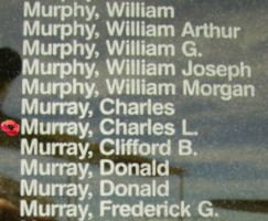 Memorial– Flying Officer Charles Leonard Murray is also commemorated on the Bomber Command Memorial Wall in Nanton, AB … photo courtesy of Marg Liessens