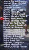 Memorial– Warrant Officer Class II Theodore Wesley Myers is also commemorated on the Bomber Command Memorial Wall in Nanton, AB … photo courtesy of Marg Liessens