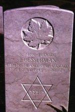 Headstone for Jack Besserman– Agira Canadian War Cemetery, Italy