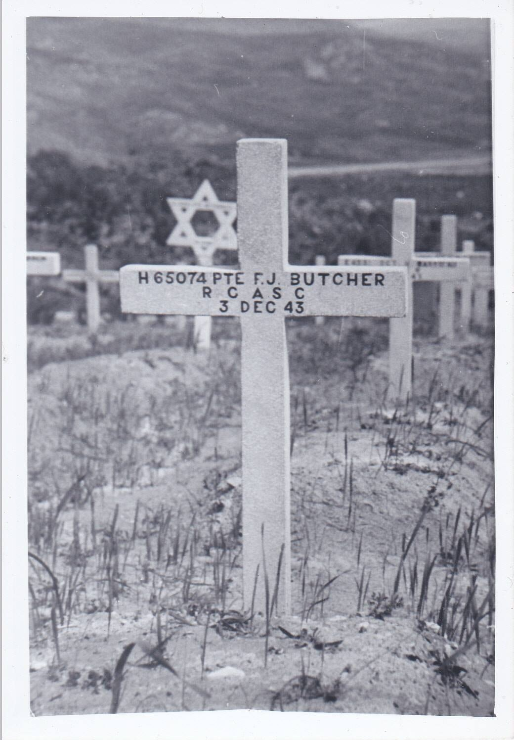 Temporary Grave Marker– Grave Marker photograph was sent to the parents of 'Frederick James Butcher', H/65074, died Dec 3, 1943, age 21 of the Royal Canadian Army.  Buried in the Agira Canadian War Cemetery, Italy.