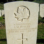 Grave Marker– Private James Milford Butler's resting place in Agira Canadian War Cemetery, Italy