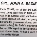 Obituary– This obituary of Cpl Eadie appeared in a 1994 special issue of The Manitoulin (Island) Expositor in 1994.