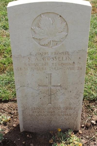 Grave Marker– Agira Canadian War Cemetery - 2013