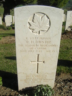 Grave marker– Grave marker from Raymond Hunter at Agira Canadian Cemetery.