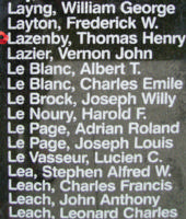 Memorial– Warrant Officer Class II Thomas Henry Lazenby is also commemorated on the Bomber Command Memorial Wall in Nanton, AB … photo courtesy of Marg Liessens