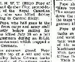 Newspaper Clipping– Source:  Globe and Mail August 11, 1943