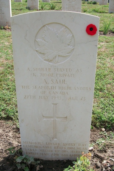 Grave Marker– Grave marker - Agira Canadian War Cemetery - 2013 Photo courtesy of Marg Liessens