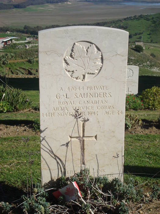 Grave marker– Grave marker from Gordon Saunders' grave at Agira Canadian War Cemetery, Sicily, Italy.