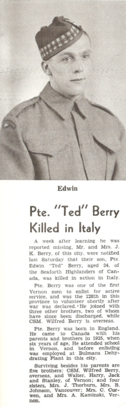 Newspaper Clipping– Death Notice from Vernon Newspaper with Uncle Ted (Edwin)'s photo attached