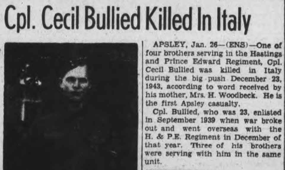 Newspaper clipping– Peterborough Examiner Item - January 26, 1944 Page 5