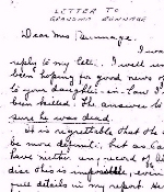 Letter sent to Mrs. Bunnage– This letter was sent to Mrs. Bunnage from Lieutenant V. C. Moore of the Seaforth Highlanders of Canada regiment on March 5, 1945.
